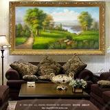 纯手绘欧式乡村田园风景油画古典山水林间小路单幅客厅装饰有框画
