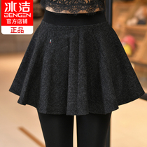 Ice Jie fake two panties skirts female autumn and winter plus velvet thickened woolen pants skirt Korean version outside wear big code cotton pants Son