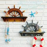 地中海风格实木半船舵挂衣钩衣帽钩创意欧式家居背景墙壁挂装饰品