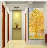 客厅装饰画玄关风水画发财树抽象竖版挂画楼梯墙画壁画单幅无框画