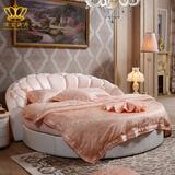 流金圆床双人床 真皮大圆床欧式公主圆形床时尚酒店卧室圆床L9988