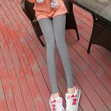 春秋季灰色打底裤外穿常规韩版百搭棉夏大码九分女士小脚长裤薄款