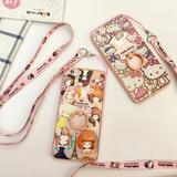 苹果6s手机壳挂绳iphone6plus保护硅胶套新款5SE粉色全包超薄防摔