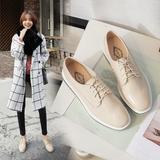 2016新款方头厚底松糕单鞋布洛克系带学生女鞋低帮鞋英伦风韩版鞋