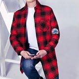 韩版春季宽松休闲BF风棉衬衣中长款红格子衬衫男女潮长袖开衫外套