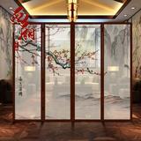 酒店屏风隔断客厅玄关折屏实木折叠移动门半透明中式屏风 木定制