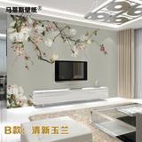 中式玉兰壁纸 电视墙壁画 无缝壁画 电视背景墙壁纸 简约墙纸壁画
