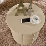 实木整装简约现代简易组装卧室欧式迷你小户型圆形皮床头柜床边柜