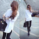 2016春装新款女装韩版修身长袖T恤女中长款纯棉白色打底衫女上衣