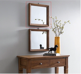 全实木镜子浴室镜现代挂墙化妆镜穿衣镜方型实木卫生间镜子壁挂