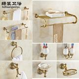 全铜欧式毛巾架卫浴套装仿古置物架复古浴巾架浴室五金挂件卫生间