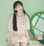 日系森林系 复古花朵刺绣软妹 棉麻宽松短袖连衣裙