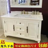美式浴室柜组合橡木卫浴柜落地卫生间大理石洗手盆洗手台池储物柜