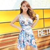 连体泳衣女韩国保守时尚裙式加厚胸垫钢托小胸聚拢显瘦温泉海边款