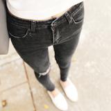 黑色高腰显瘦膝盖破洞牛仔裤女弹力小脚裤紧身九分裤毛边铅笔裤秋