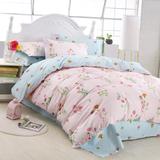 北欧简约美式复古花朵碎花小清新纯棉床单1.2 1.8床上用品四件套