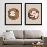花卉团扇中式客厅沙发装饰画 中国风格水墨荷花牡丹墙壁挂画书房