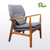 北欧实木沙发椅时尚简约现代白橡木休闲椅布艺沙发电脑椅酒吧餐厅