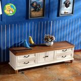 地中海电视柜组合实木烤漆地柜小户型大容量储物柜卧室时尚矮柜