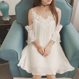 2016夏季新款韩版女装重工短袖一字领吊带裙蕾丝连衣裙露肩裙子夏