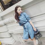 2016夏季新款韩版系带休闲舒适长袖牛仔连衣裙女CD61112
