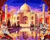 数字油画diy包邮 城市风光客厅手绘画亚麻 印度泰姬陵40*50 60*75