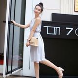 背心裙2016新款夏季女装韩版气质无袖吊带挂脖打底裙中长款连衣裙