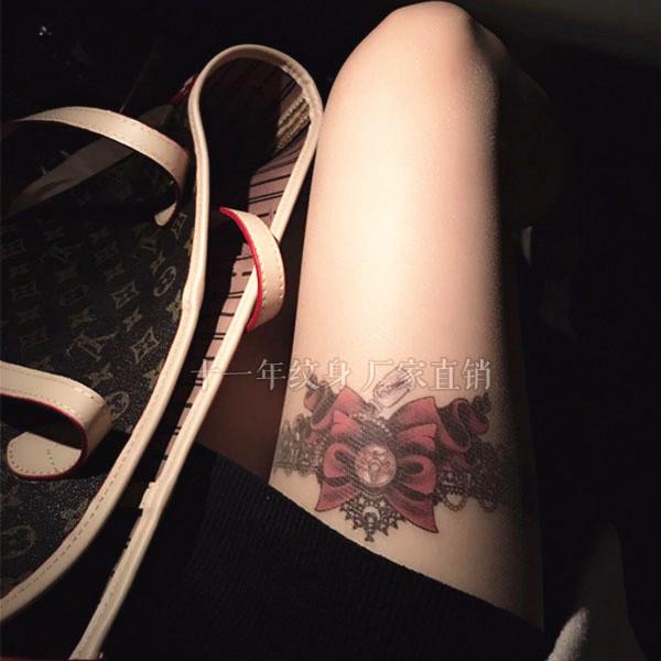 花臂纹身贴防水 女性感蝴蝶结蕾丝 原创大图腿部逼真诱惑刺青贴纸图片