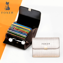 Gold Fox folding card bag female Korean version of the multi-card Zipper Wallet leather multi-function bus card driving card sets