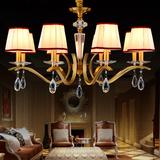 美式乡村北欧新中式仿古铁艺吊灯欧式地中海古铜色水晶吊灯2260