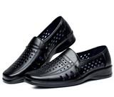 夏季新款男凉鞋镂空皮鞋中老年男软底透气休闲一脚蹬懒人爸爸皮鞋