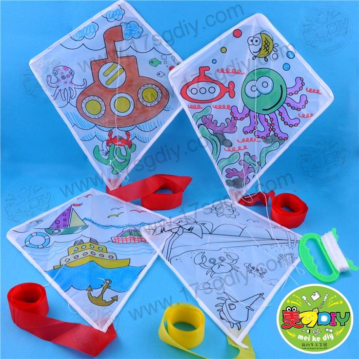 创意风筝 幼儿春游主题手工涂色绘画diy材料制作儿童美术玩具批发图片