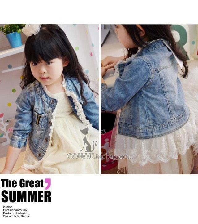 儿童外套女童牛仔蕾丝花边外套宝宝夹克牛仔上衣童装