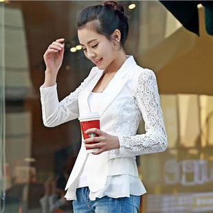 2013新款秋冬韩版淑女装小西服长袖修身显瘦雪纺衫拼接西装