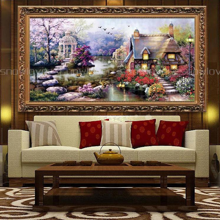 印花十字绣最新款客厅山水画 风景迎客松十字绣旭日东升流水生财图片