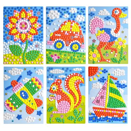 儿童手工制作材料diy创意海绵纸eva马赛克3d立体钻石_
