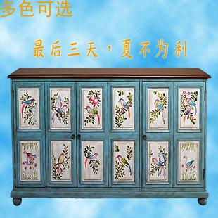 鞋柜 美式百叶窗彩绘三门玄关柜储物边柜子门厅柜隔断柜