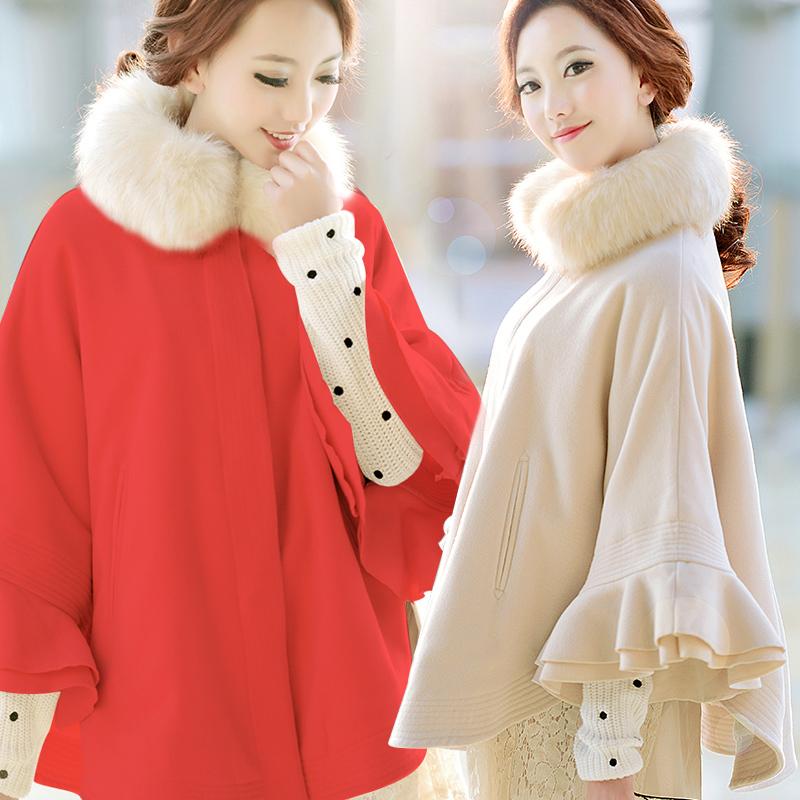 冬韩版披风冬季蝙蝠衫斗篷冬装外套女装可爱清仓特价