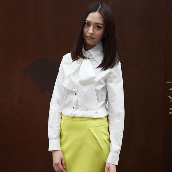 早秋新款 白色飘带可拆卸衬衫 职业ol百搭大领结长袖纯白衬衣女