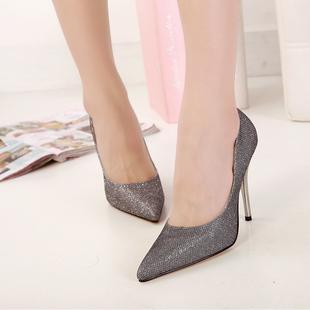 银色 七月10公分10CM超高跟鞋10厘米细跟女式单鞋夜店秋季浅口