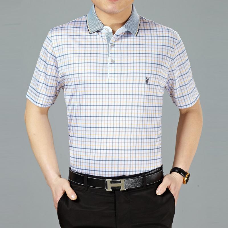 4夏装新款潮正品牌中年男士桑蚕丝短袖男T恤条纹半袖t血衫
