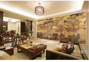 瓷砖大型壁画背景墙客厅沙发书房电视背景艺术仿古砖外墙仿古高清图片