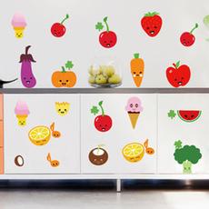 可爱卡通墙贴 厨房橱柜贴冰箱衣柜贴 水果蔬菜食品冰淇淋
