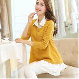 春秋新款大码女装韩版衬衣领假两件套针织衫套头毛衣衬衫两件套女