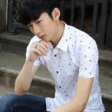 夏季时尚白短袖衬衫男士韩版修身型青少年休闲纯色衬衣潮男装衣服