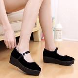 正品松糕厚底老北京布鞋女鞋高跟防滑单鞋工作鞋跳舞鞋坡跟黑色鞋