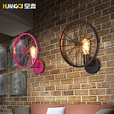 皇妻复古壁灯loft创意个性餐厅吧台美式乡村铁艺工业风灯具车轮灯