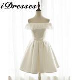 一字领露肩礼服裙伴娘礼服蕾丝短款结婚宴会新娘白色缎面晚装显瘦