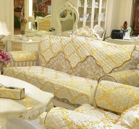 高档真皮加厚防滑欧式沙发垫坐垫布艺秋冬丝绒绗缝套