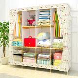 实木简易衣柜布艺简约现代折叠布衣柜收纳组装衣橱牛津布钢架木质